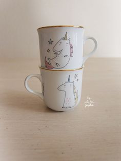 1 Cup gold trim Unicorn both sides by Sobigraphie on Etsy