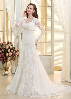 Buy discount In Stock Elegant Tulle V-neck Neckline Mermaid Wedding Dresses With Beaded Lace Appliques US 4 at Dressilyme.com