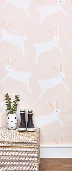"""Leaping Bunnies"" wallpaper by Stacie Bloomfield available at Chasing Paper Girl Nursery, Girls Bedroom, Nursery Decor, Bunny Nursery, Playroom Decor, Nursery Ideas, Studio Decor, Deco Addict, Big Girl Rooms"