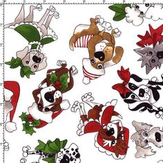 Doggie Tossed White Fabric Yard by Loralie by loraliedesigns, $10.00