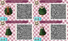 Wintery green coat. QR codes