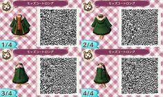 Wintery green coat. QR codes