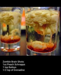 zombie brain shots for halloween Halloween Shots, Halloween Party Drinks, Soirée Halloween, Halloween Treats, Halloween Alcoholic Drinks, Zombie Party, Party Drinks Alcohol, Fun Drinks, Yummy Drinks