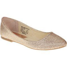 Faded Glory Women's Glitter Pointed Toe Ballet Flat