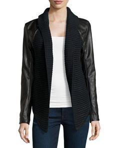 John & Jenn Faux-Leather/Knit Combo Cardigan, Caviar $169