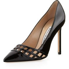 Manolo Blahnik Jabi Woven Patent Leather Pump, Black ($775) found on Polyvore