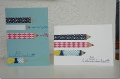 Great card for the beginning of school! Pens made of washitape! Washi Tape Cards, Masking Tape, 1st Day Of School, Beginning Of School, Love Cards, Diy Cards, Xmas Crafts, Paper Crafts, School Enrollment