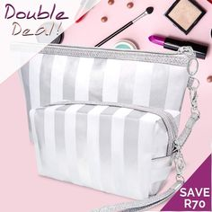 Double Deal!  Keep your make-up safe with this cute silver & white cosmetic bag duo for only R150! Conveniently pop them into your handbag for touch-ups throughout the day.  Be Fast - While Stocks Last!  R60 Courier Cost anywhere in SA directly to your doorstep. Bloemfontein Free  Nicolene 071 329 1543