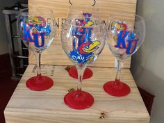 Hand painted Kansas Jayhawks wine glasses on Etsy