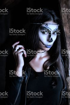 Girl with creative make up for halloween royalty-free stock photo
