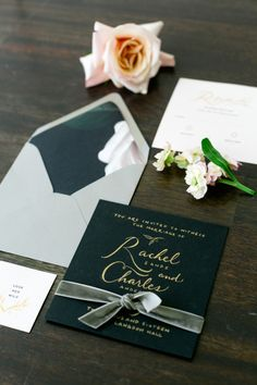 Black and gold wedding invitation: http://www.stylemepretty.com/canada-weddings/ontario/cambridge-ontario/2017/03/23/moody-fall-wedding-inspiration/ Photography: Corina V. - http://corinavphotography.com/