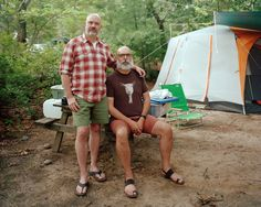 """Gunner and Charles - Dunes' Edge Campgrounds (Provincetown, MA), 2013.  Aunt-Bad Magazine talking with Alan Charlesworth about his explorations of the gay community, subcultures and sexuality and his series """"Brotherhood of Bears""""."""