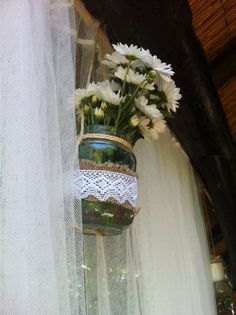 Beach Wedding hanging glass jar with white daisies and net curtain