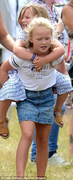 Mia certainly appeared to be enjoying the piggy back from Savannah...