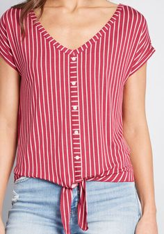 Timely Arrival Tie Waist Top in XXS - Short Sleeve Regular by ModCloth Hipster Outfits, Retro Outfits, Blouse Styles, Blouse Designs, Cord Jacket, Tie Waist Top, Modcloth, Casual Tops, Shirt Sleeves