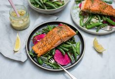Seared Salmon over Warm Sugar Snap Peas and Green Beans and an Arugula-Fennel Salad with Watermelon Radishes. Super easy fast and pretty! Recipe in the comments. (Props to the produce guy at my grocery store for bouncing ideas around with me!) [OC] [5969  4110]