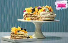 Layered Hazelnut Meringue Cake Hazelnut Meringue, Meringue Cake, Cake Recipes, Dessert Recipes, Sugar Frosting, Baking Secrets, Pineapple Slices, Serving Plates, Pavlova