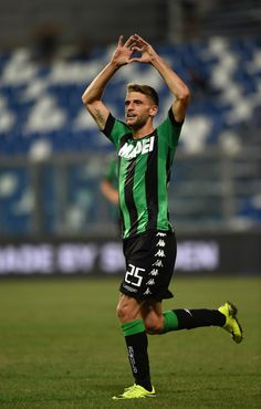 Domenico Berardi of US Sassuolocelebrates his first goal during the Serie A…