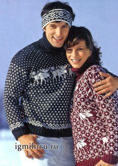 Готовимся к зимнему спортивному сезону! Мужской жаккардовый свитер и повязка на лоб. Вязание спицами для мужчин