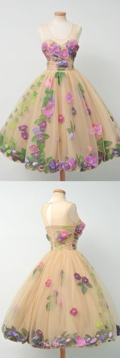 Beautiful Unique Flowers Gorgeous Lovely Short Homecoming Dresses, BG51605