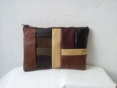 brown leather patchwork clutch bag by reloveduk