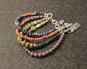 African Trade Bead, Leather, Silver, Bronze, Copper Bracelet, Triple Wrap Bracelet, Rustic Handcrafted, Artisan Jewelry, Sundance Style. $155.00, via Etsy.
