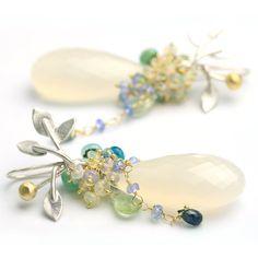 White Chalcedony Long Drop Earrings Vine Earwire by fussjewelry