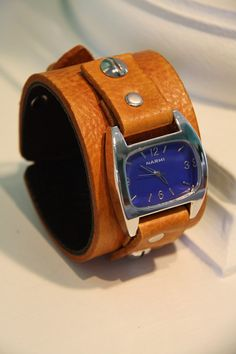 Handmade tan leather cuff watch by NorthvilleLeather on Etsy, $50.00 Nice and Pretty +dreadstop @DreadStop