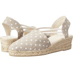 rsvp Jelena (Natural Luna/White Dot) Women's Wedge Shoes (€32) ❤ liked on Polyvore featuring shoes, sandals, neutral, wedge sandals, mid heel wedge sandals, platform wedge sandals, white wedge sandals and slip on sandals