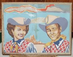 Vintage Rare Roy Rogers and Dale Evans paint by number framed painting Western Cowboy