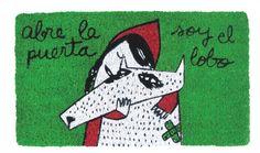 Felpudo Abre la puerta soy el lobo. Un felpudo original y muy colorido perfecto para regalar. Con diseño de Anna Llenas, y lo tenemos en Decocuit, regalos y decoración en Burgos y también en www.decocuit.com.