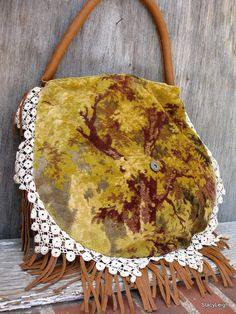 Carpet Bag with Leather Fringe By Stacy Leigh Ready to Ship