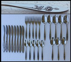 Lot of 26 Pieces My Rose Stainless Steel Silverware Oneida Knives Forks Spoons | eBay