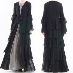 Dress With Cardigan, Kimono Dress, Kimono Cardigan, Chiffon Dress, Abaya Fashion, Fashion Dresses, Steampunk Fashion, Gothic Fashion, Women's Fashion