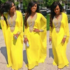 Yellow African Prints Plus Size African Fashion V-neck Bat Sleeve Party Maxi Dress