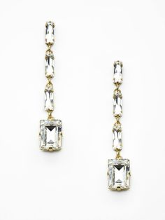 Rectangular Crystal Drop Earrings, Rodrigo Otazu. So glam ;]