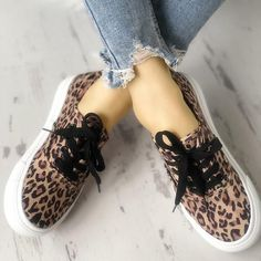 7c3cfc6fd3ae Women Casual Canvas Sneakers Leopard print Slip-on Shoes