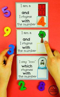 Fun Number Rhyme Cards - Rhyming Words for Kids numberrhymes planningplaytime rhymingwords kindergartenworksheets rhymingworksheets literacyworksheets 297730225364394792 Rhyming Words For Kids, Rhyming Word Game, Rhyming Worksheet, Rhyming Activities, Kindergarten Literacy, Preschool Classroom, Preschool Learning, Preschool Activities, Word Games