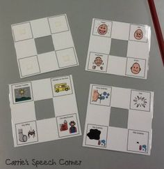 Activity specific eye gaze boards:  Smaller and more portable than the version above, I created these in Boardmaker by creating a 9-square grid and deleting four of the cells.
