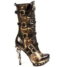 Ladies Steampunk Gold & Black Leather Stiletto Boot.  www.newrockbootsuk.com