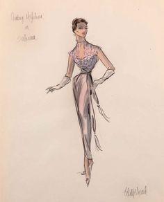 Edith Head Sketch for Audrey Hepburn in Sabrina