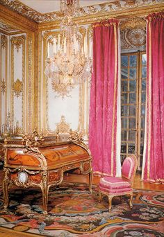 The office of Louis XV with the Bureau du Roi, a masterpiece of Rococo style. The Bureau du Roi was in the collection of the Louvre for many years, but is now displayed at the Palace of Versailles in France (where it was originally used by Louis XV). Chateau Versailles, Palace Of Versailles, Beautiful Interiors, Beautiful Homes, French Interior, Interior Design, European Home Decor, Rococo Style, Marie Antoinette