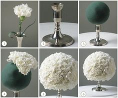 Super easy and super chic carnation centerpiece. Anyone can put this beauty diy project together.Materials Needed:-Candlestick-Oasis floral foam sphere-Lots and lots of CarnationsDirections:1.Start with a candlestick. The entire bouquet ball will sit on the candlestick. (see figure 2)2.Use anyfloral foam sphere. Soak it for 45 minutes, then drain on a paper towel. (see figure 3)3.Work the carnations evenly around the foam sphere to distribute the