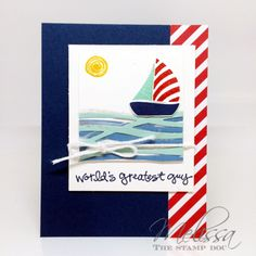 card nautical sailboat sea ocean Sailing Away - waves  Swirly Bird #stampinup