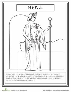 Get to know your Greek gods and goddesses with this series of Greek mythology coloring pages, complete with fun facts about each god. Greek And Roman Mythology, Greek Gods And Goddesses, Hera Goddess, Zeus And Hera, Greek Pantheon, Roman Gods, Cool Coloring Pages, Coloring Sheets, Greek Art