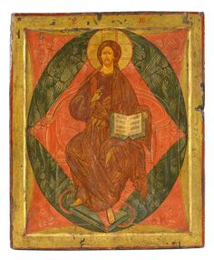 Christ en Majesté, icône russe sur panneau polychrome rouge, brun et bleu sur fond or figurant le Christ intronisé, XVIIe s., 48x40 cm. d'après l'oeuvre par Andrei Rublev du même titre, ca. 1410, Moscou Gallerie Tretyakov