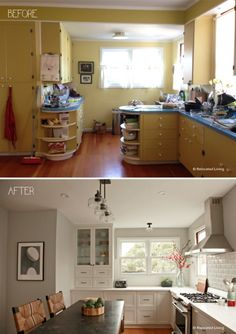 Before And After Kitchen Transfromation Featuring Cottage Pulls And Knobs  Via