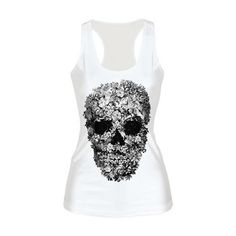 Rotita Skull Head Print White Tank Top (16 CAD) ❤ liked on Polyvore featuring tops, shirts, tank tops, tanks, white, white singlet, skull tank, white camisole, spandex tank top and white collared shirt