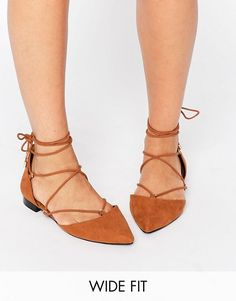 ASOS | ASOS LITERAL Wide Fit Lace Up Ballet Flats
