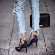 Classic Chanel boy bag, corset trend, corset pumps, raw hem denim